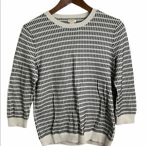 J Crew black and white sweater 3/4 sleeves…
